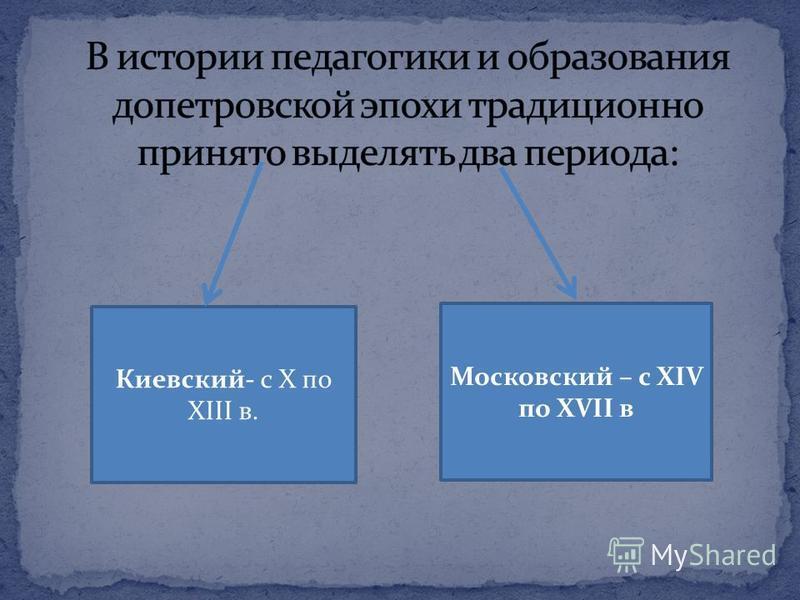Киевский- с X по XIII в. Московский – с XIV по XVII в