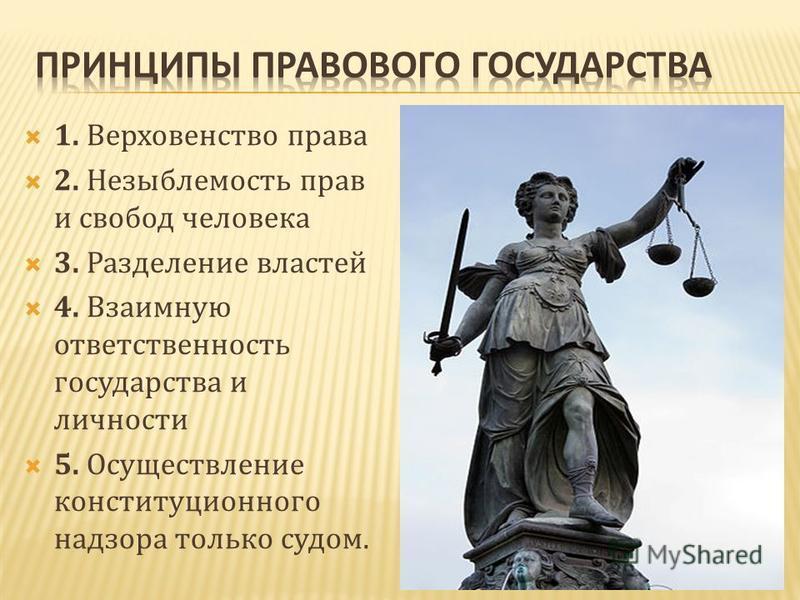1. Верховенство права 2. Незыблемость прав и свобод человека 3. Разделение властей 4. Взаимную ответственность государства и личности 5. Осуществление конституционного надзора только судом.