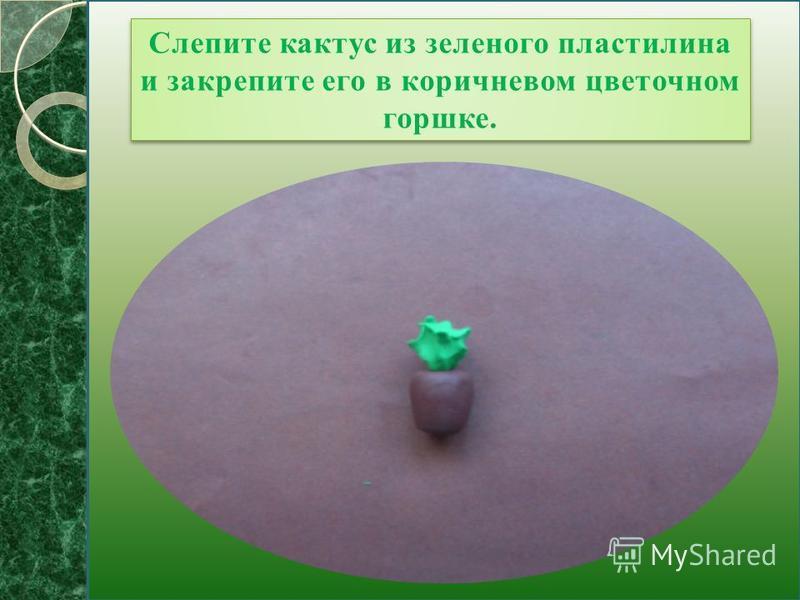 Слепите кактус из зеленого пластилина и закрепите его в коричневом цветочном горшке.