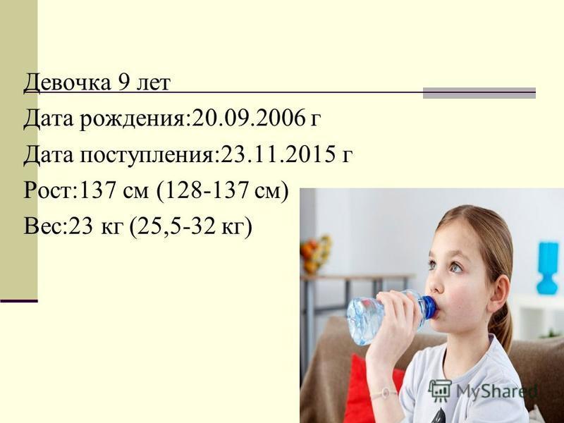 Девочка 9 лет Дата рождения:20.09.2006 г Дата поступления:23.11.2015 г Рост:137 см (128-137 см) Вес:23 кг (25,5-32 кг)