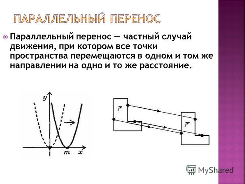 Параллельный перенос частный случай движения, при котором все точки пространства перемещаются в одном и том же направлении на одно и то же расстояние.