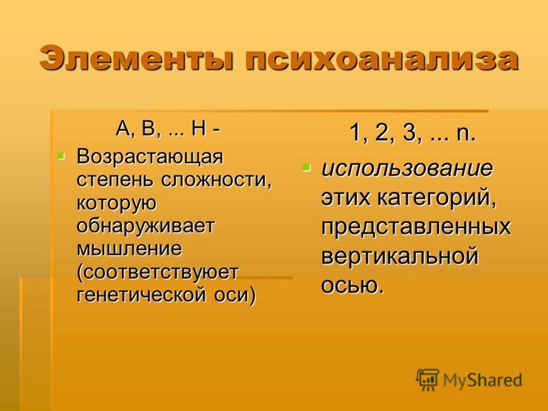 Элементы психоанализа A, B,... H - Возрастающая степень сложности, которую обнаруживает мышление (соответствуюет генетической оси) Возрастающая степень сложности, которую обнаруживает мышление (соответствуюет генетической оси) 1, 2, 3,... n. использо