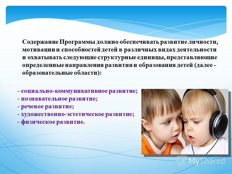 - социально-коммуникативное развитие; - познавательное развитие; - речевое развитие; - художественно-эстетическое развитие; - физическое развитие. Содержание Программы должно обеспечивать развитие личности, мотивации и способностей детей в различных