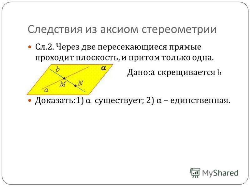Следствия из аксиом стереометрии Сл.2. Через две пересекающиеся прямые проходит плоскость, и притом только одна. Дано : a скрещивается b Доказать :1) α существует ; 2) α – единственная.