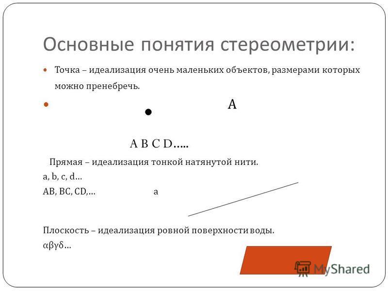 Основные понятия стереометрии : Точка – идеализация очень маленьких объектов, размерами которых можно пренебречь. А A B C D….. Прямая – идеализация тонкой натянутой нити. a, b, c, d… AB, BC, CD,… а Плоскость – идеализация ровной поверхности воды. αβγ