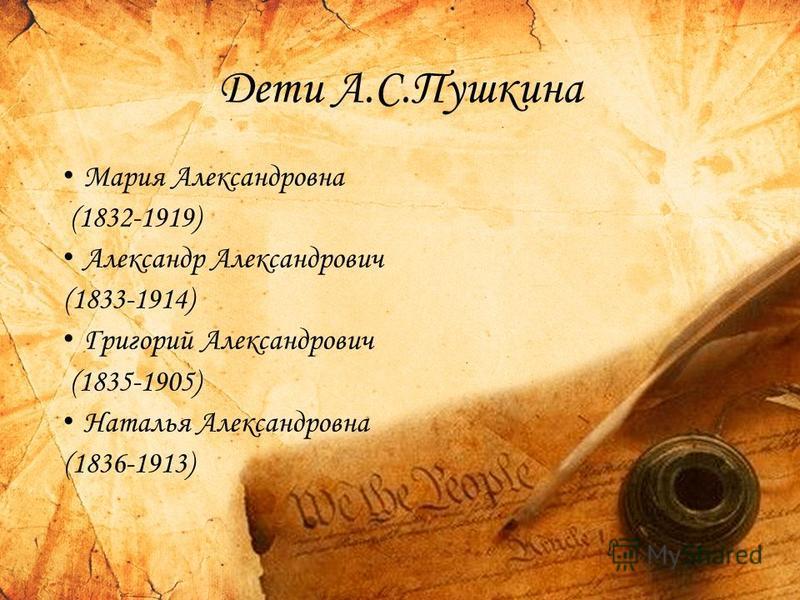 Дети А.С.Пушкина Мария Александровна (1832-1919) Александр Александрович (1833-1914) Григорий Александрович (1835-1905) Наталья Александровна (1836-1913)