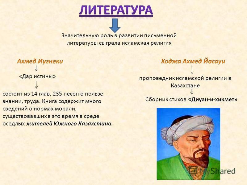 Значительную роль в развитии письменной литературы сыграла исламская религия «Дар истины» проповедник исламской религии в Казахстане Сборник стихов «Диуан-и-хикмет» состоит из 14 глав, 235 песен о пользе знании, труда. Книга содержит много сведений о
