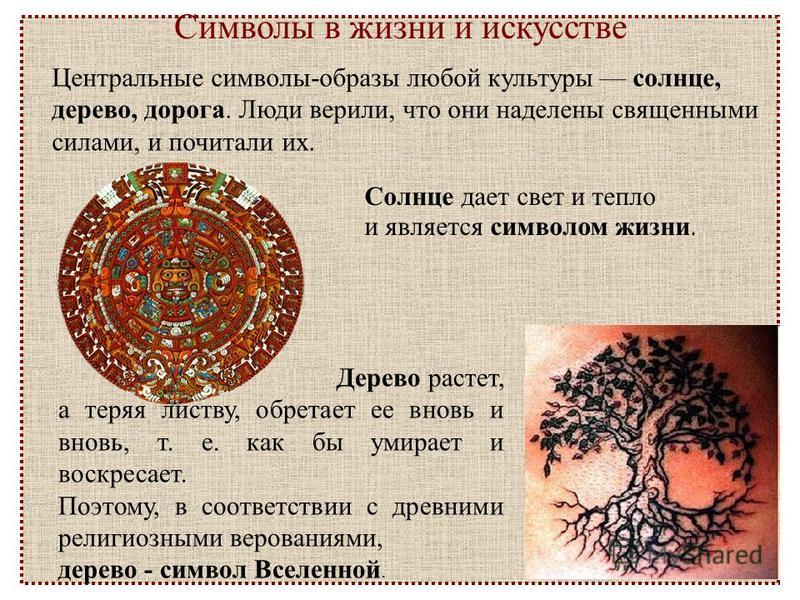 Символы в жизни и искусстве Центральные символы-образы любой культуры солнце, дерево, дорога. Люди верили, что они наделены священными силами, и почитали их. Дерево растет, а теряя листву, обретает ее вновь и вновь, т. е. как бы умирает и воскресает.