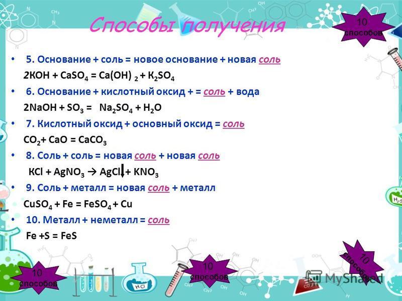 Способы получения 5. Основание + соль = новое основание + новая соль 2КОН + СаSO 4 = Са(ОН) 2 + К 2 SO 4 6. Основание + кислотный оксид + = соль + вода 2NaOH + SO 3 = Na 2 SO 4 + H 2 O 7. Кислотный оксид + основный оксид = соль СО 2 + СаО = СаСО 3 8.