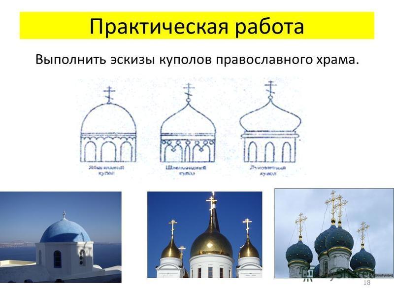 Практическая работа Выполнить эскизы куполов православного храма. 18