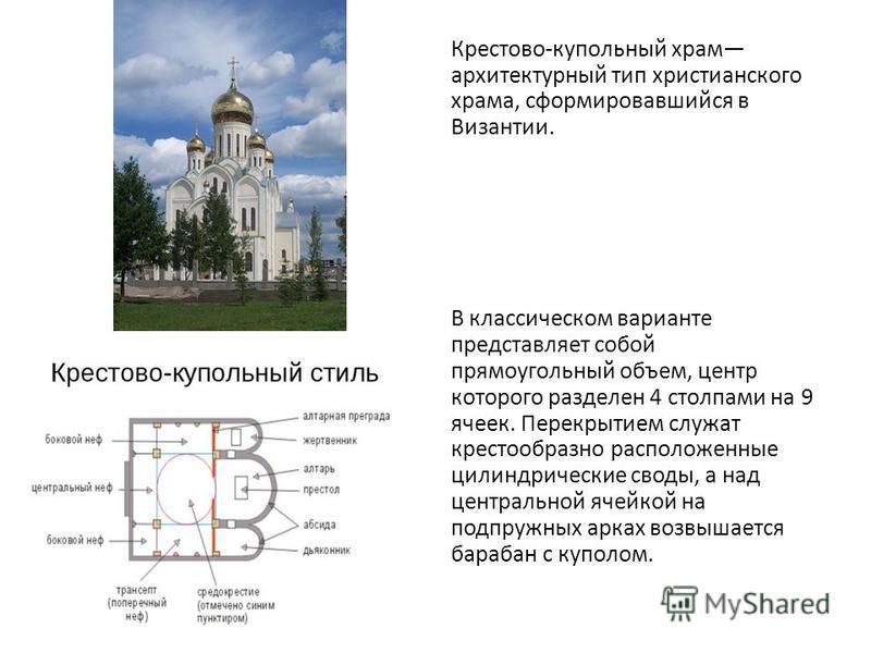Крестово-купольный храм архитектурный тип христианского храма, сформировавшийся в Византии. В классическом варианте представляет собой прямоугольный объем, центр которого разделен 4 столпами на 9 ячеек. Перекрытием служат крестообразно расположенные