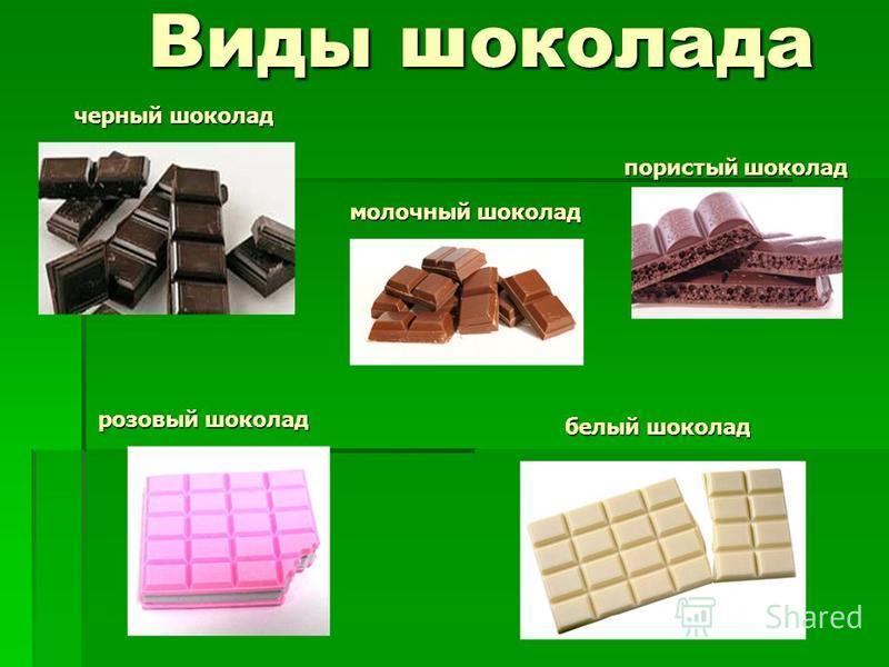 Виды шоколада пористый шоколад молочный шоколад черный шоколад розовый шоколад белый шоколад