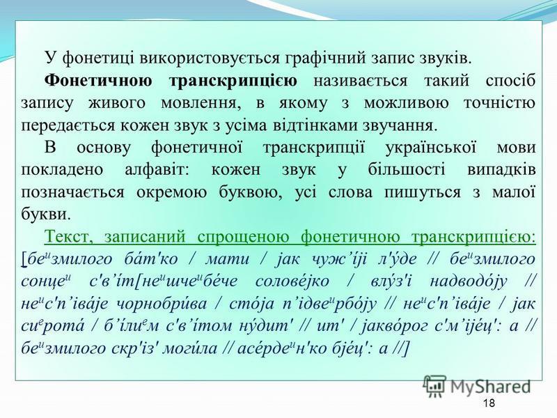 У фонетиці використовується графічний запис звуків. Фонетичною транскрипцією називається такий спосіб запису живого мовлення, в якому з можливою точністю передається кожен звук з усіма відтінками звучання. В основу фонетичної транскрипції української