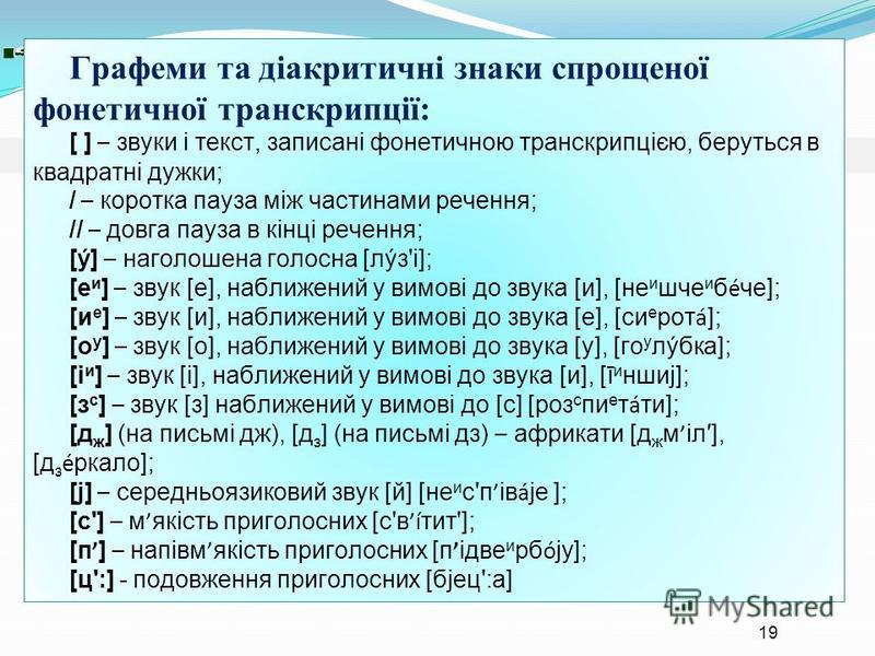 Графеми та діакритичні знаки спрощеної фонетичної транскрипції: [ ] – звуки і текст, записані фонетичною транскрипцією, беруться в квадратні дужки; / – коротка пауза між частинами речення; // – довга пауза в кінці речення; [ý] – наголошена голосна [л