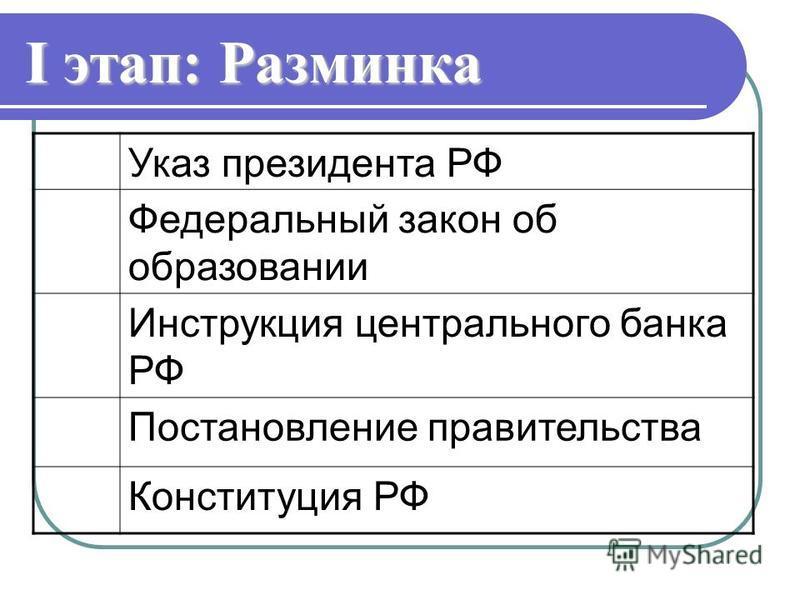 I этап: Разминка Указ президента РФ Федеральный закон об образовании Инструкция центрального банка РФ Постановление правительства Конституция РФ