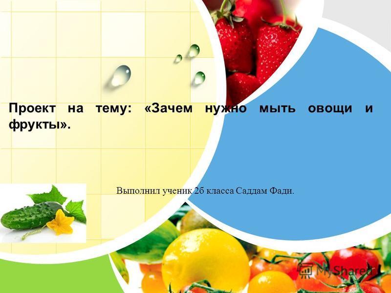 L/O/G/O Проект на тему: «Зачем нужно мыть овощи и фрукты». Выполнил ученик 2 б класса Саддам Фади.