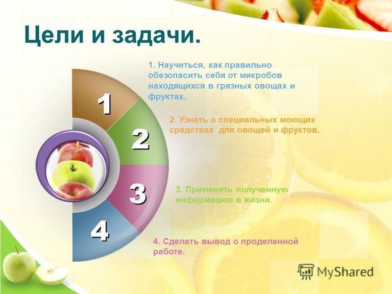 1 1 4 4 1. Научиться, как правильно обезопасить себя от микробов находящихся в грязных овощах и фруктах. 2. Узнать о специальных моющих средствах для овощей и фруктов. 3. Применять полученную информацию в жизни. 2 2 3 3 4. Сделать вывод о проделанной