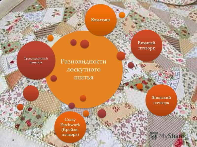 Разновидности лоскутного шитья Традиционный пэчворк Вязаный пэчворк Японский пэчворк Crazy Patchwork (Крэйзи- пэчворк) Квилтинг