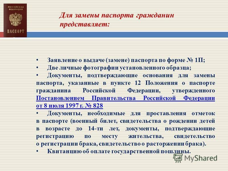 Заявление о выдаче (замене) паспорта по форме 1П; Две личные фотографии установленного образца; Документы, подтверждающие основания для замены паспорта, указанные в пункте 12 Положения о паспорте гражданина Российской Федерации, утвержденного Постано