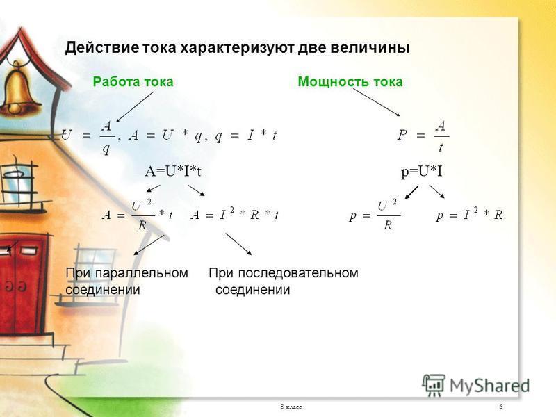 8 класс 6 Действие тока характеризуют две величины Работа тока Мощность тока A=U*I*t p=U*I При параллельном При последовательном соединении