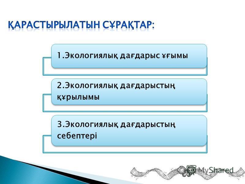 1.Экологиялық дағдарыс ұғымы 2.Экологиялық дағдарыстың құрылымы 3.Экологиялық дағдарыстың себептері