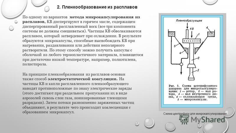 2. Пленкообразование из расплавов По одному из вариантов метода микрокапсулирования из расплавов, KB диспергируют в горячем масле, содержащем диспергированный расплавленный воск (все три компонента системы не должны смешиваться). Частицы KB обволакив