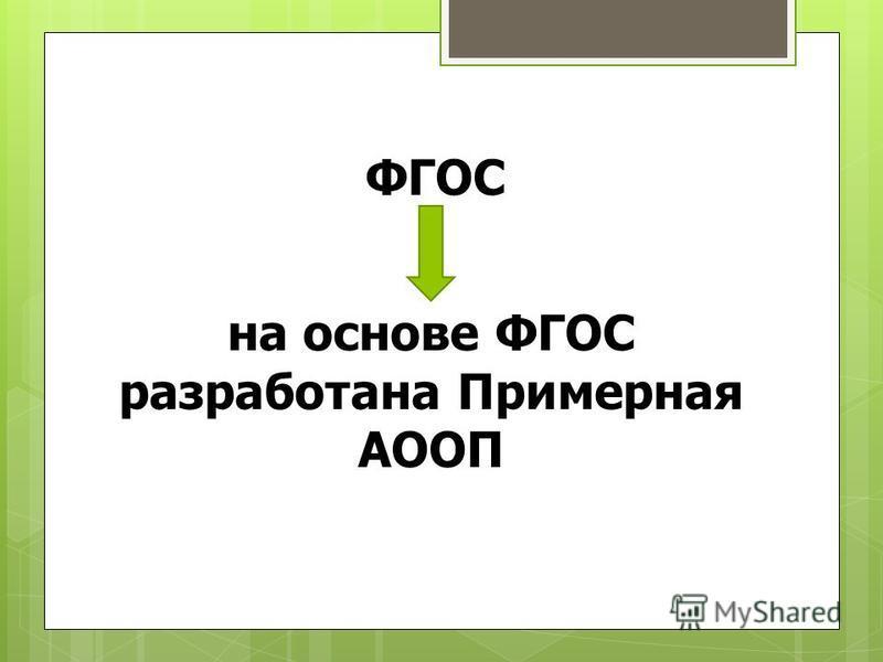 ФГОС на основе ФГОС разработана Примерная АООП