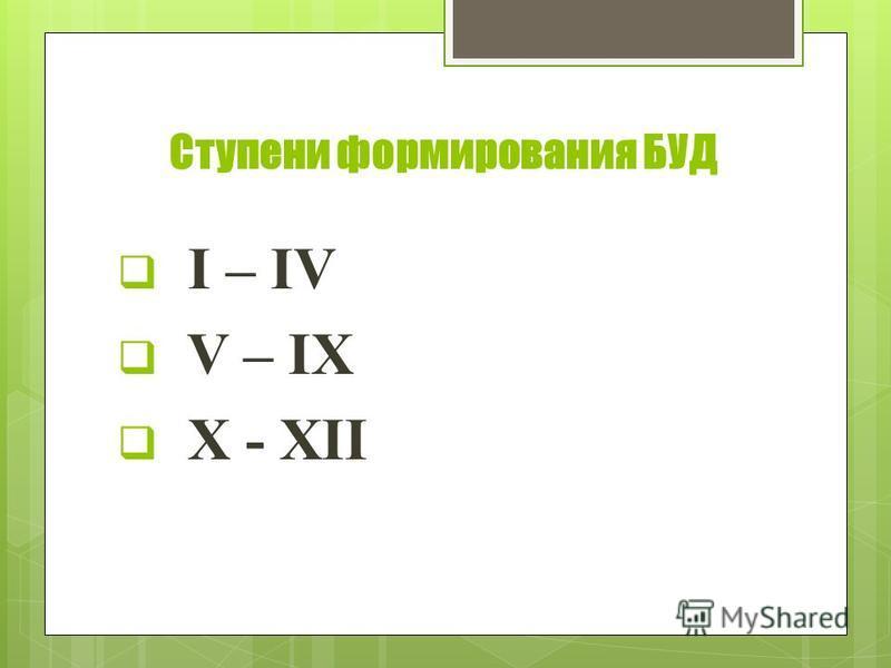 Ступени формирования БУД I – IV V – IX X - XII