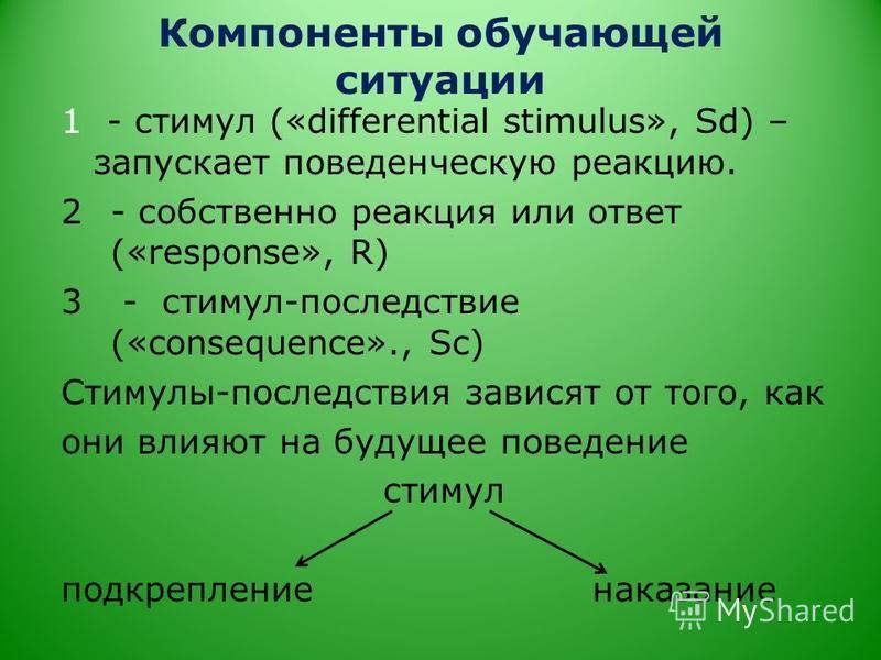 Компоненты обучающей ситуации 1 - стимул («differential stimulus», Sd) – запускает поведенческую реакцию. 2- собственно реакция или ответ («response», R) 3 - стимул-последствие («consequence»., Sc) Стимулы-последствия зависят от того, как они влияют