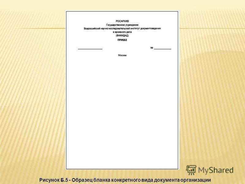 Рисунок Б.5 - Образец бланка конкретного вида документа организации