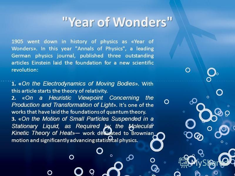 1905 went down in history of physics as «Year of Wonders». In this year
