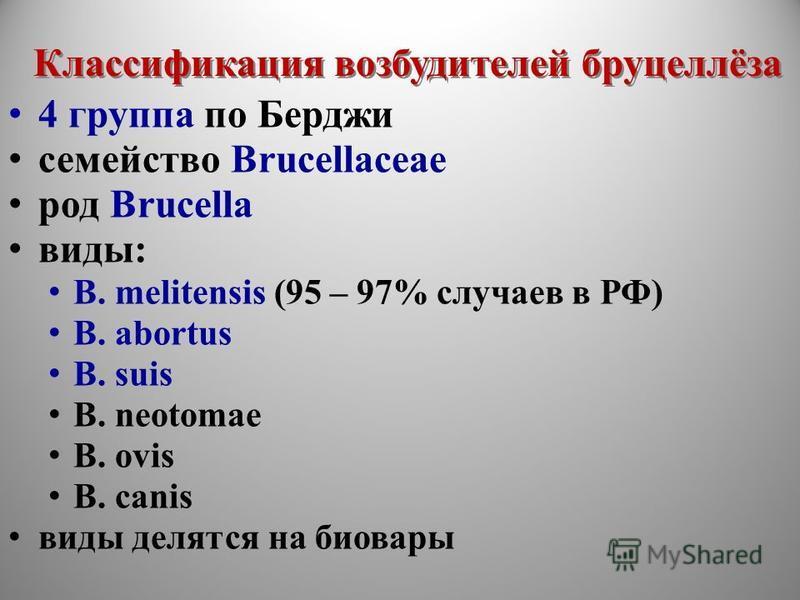 Классификация возбудителей бруцеллёза 4 группа по Берджи семейство Brucellaceae род Brucella виды: B. melitensis (95 – 97% случаев в РФ) B. abortus B. suis B. neotomae B. ovis B. canis виды делятся на биовары 4 группа по Берджи семейство Brucellaceae