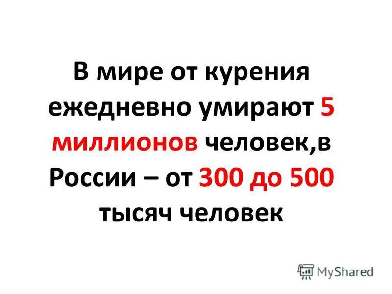 В мире от курения ежедневно умирают 5 миллионов человек,в России – от 300 до 500 тысяч человек