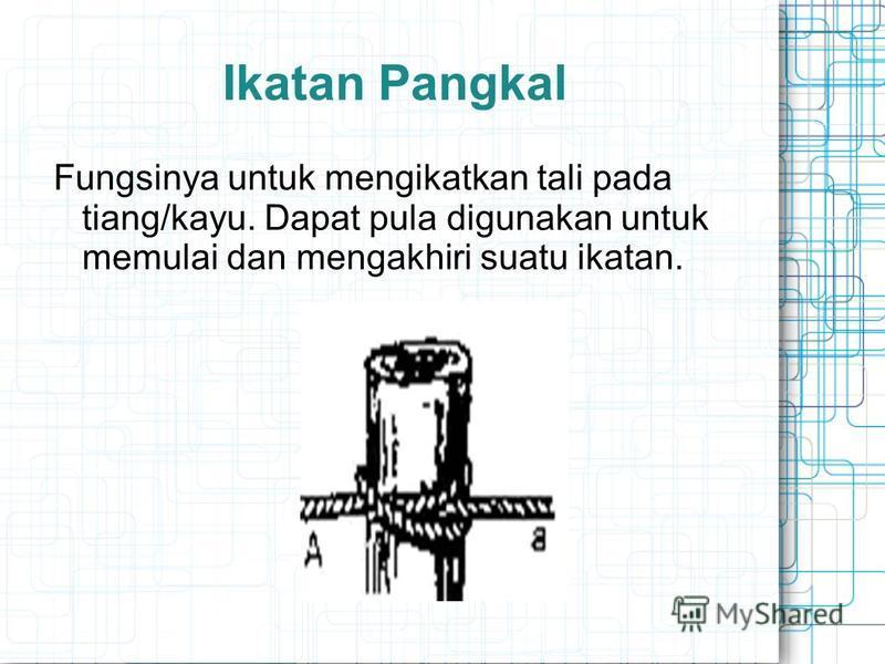 Ikatan Pangkal Fungsinya untuk mengikatkan tali pada tiang/kayu. Dapat pula digunakan untuk memulai dan mengakhiri suatu ikatan.