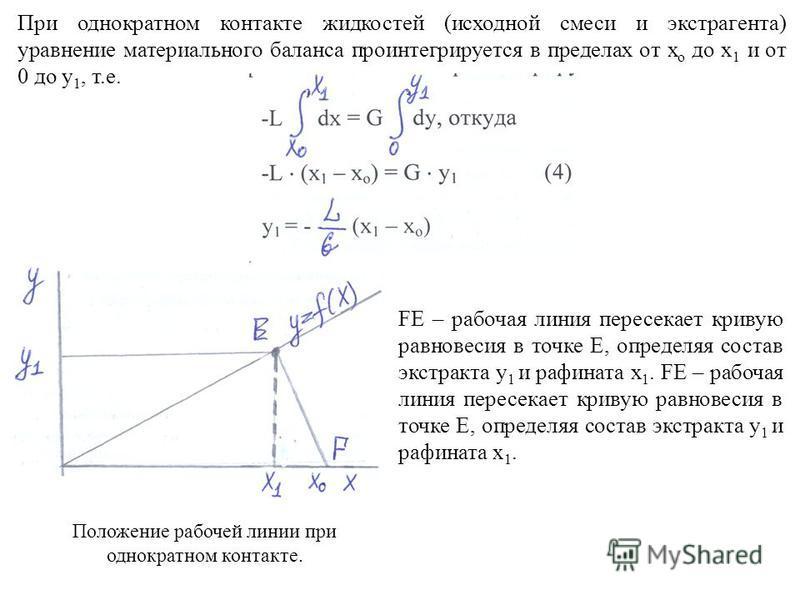 При однократном контакте жидкостей (исходной смеси и экстрагента) уравнение материального баланса про интегрируется в пределах от х о до х 1 и от 0 до у 1, т.е. FE – рабочая линия пересекает кривую равновесия в точке Е, определяя состав экстракта у 1