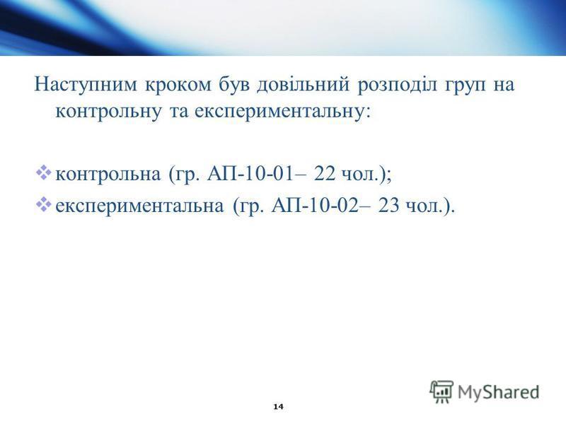 14 Наступним кроком був довільний розподіл груп на контрольну та експериментальну: контрольна (гр. АП-10-01– 22 чол.); експериментальна (гр. АП-10-02– 23 чол.).
