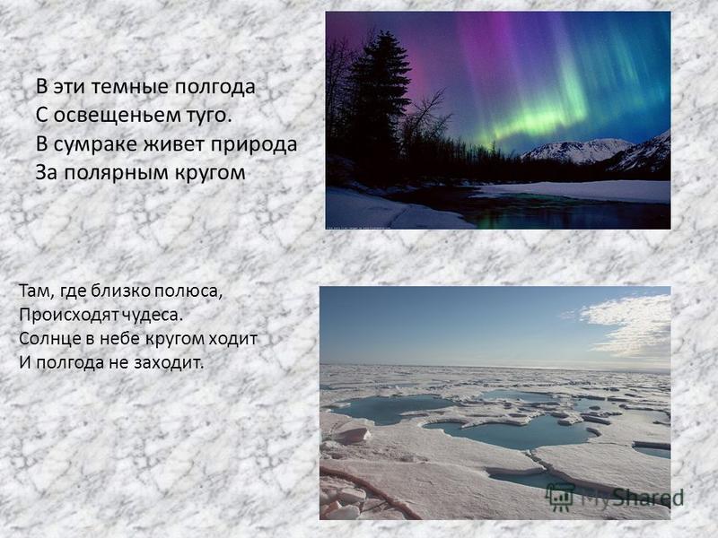 В эти темные полгода С освещеньем туго. В сумраке живет природа За полярным кругом Там, где близко полюса, Происходят чудеса. Солнце в небе кругом ходит И полгода не заходит.