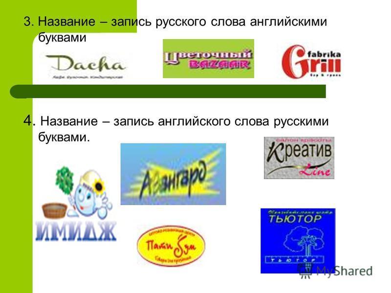 3. Название – запись русского слова английскими буквами 4. Название – запись английского слова русскими буквами.