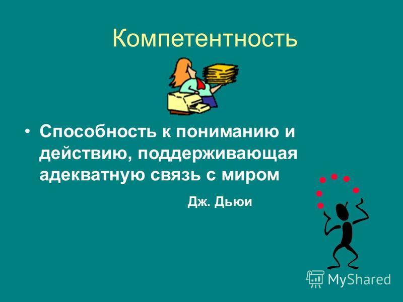 Компетентность Способность к пониманию и действию, поддерживающая адекватную связь с миром Дж. Дьюи
