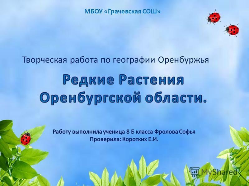 МБОУ «Грачевская СОШ» Творческая работа по географии Оренбуржья