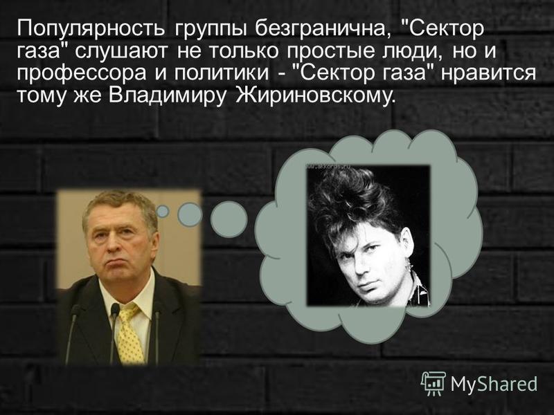 Популярность группы безгранична, Сектор газа слушают не только простые люди, но и профессора и политики - Сектор газа нравится тому же Владимиру Жириновскому.