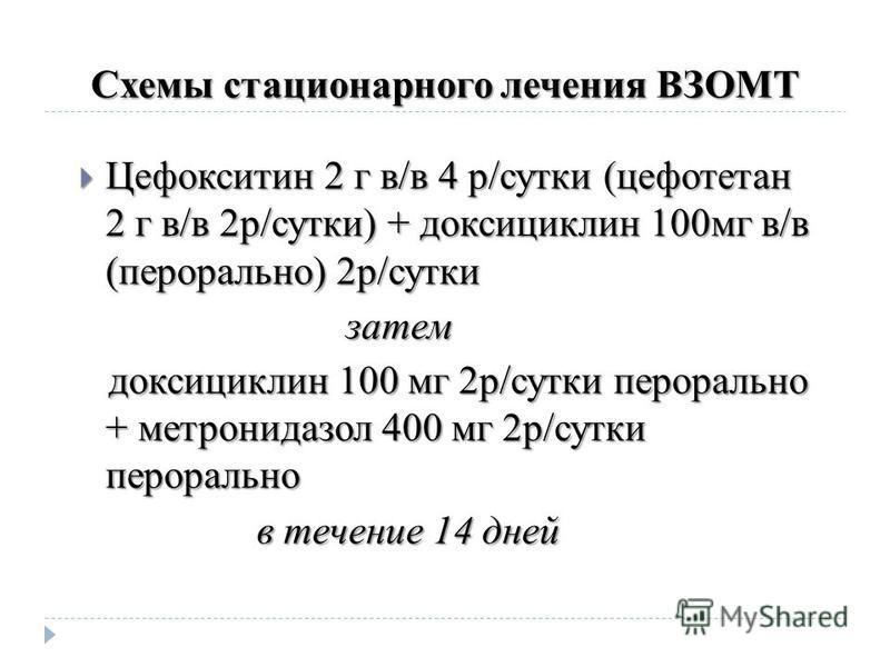 Схемы стационарного лечения ВЗОМТ Цефокситин 2 г в/в 4 р/сутки (цефотетан 2 г в/в 2 р/сутки) + доксициклин 100 мг в/в (перорально) 2 р/сутки Цефокситин 2 г в/в 4 р/сутки (цефотетан 2 г в/в 2 р/сутки) + доксициклин 100 мг в/в (перорально) 2 р/сутки за