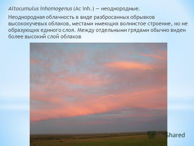 Altocumulus inhomogenus (Ac inh.) неоднородные. Неоднородная облачность в виде разбросанных обрывков высококучевых облаков, местами имеющих волнистое строение, но не образующих единого слоя. Между отдельными грядами обычно виден более высокий слой об