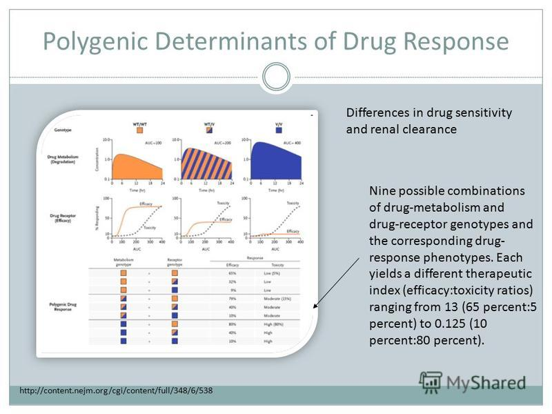 Polygenic Determinants of Drug Response Nine possible combinations of drug-metabolism and drug-receptor genotypes and the corresponding drug- response phenotypes. Each yields a different therapeutic index (efficacy:toxicity ratios) ranging from 13 (6