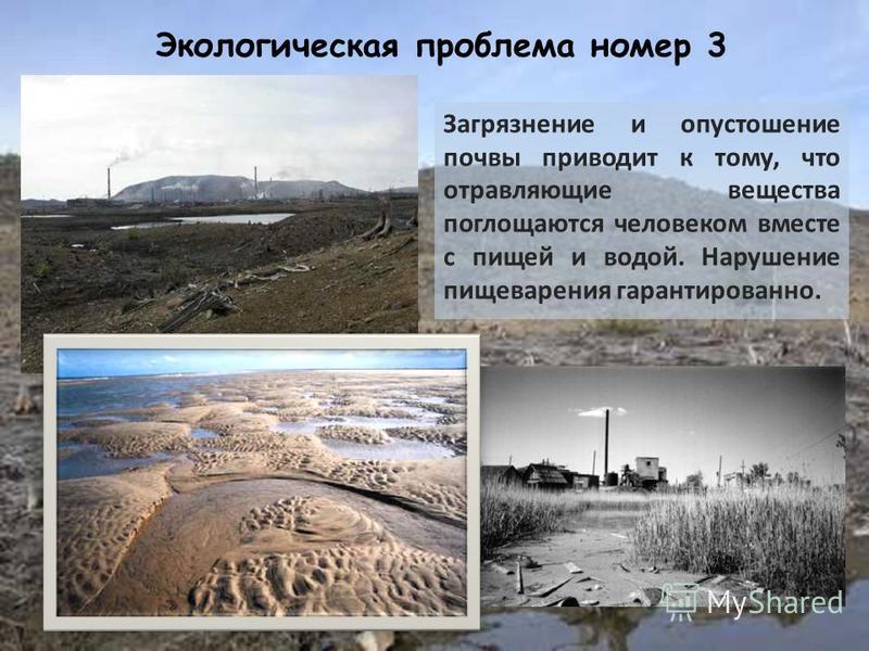 Экологическая проблема номер 3 Загрязнение и опустошение почвы приводит к тому, что отравляющие вещества поглощаются человеком вместе с пищей и водой. Нарушение пищеварения гарантированно.