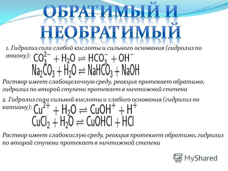1. Гидролиз соли слабой кислоты и сильного основания (гидролиз по аниону): Раствор имеет слабощелочную среду, реакция протекает обратимо, гидролиз по второй ступени протекает в ничтожной степени 2. Гидролиз соли сильной кислоты и слабого основания (г