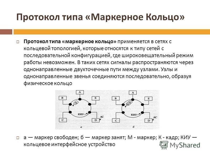 Протокол типа « Маркерное Кольцо » Протокол типа « маркерное кольцо » применяется в сетях с кольцевой топологией, которые относятся к типу сетей с последовательной конфигурацией, где широковещательный режим работы невозможен. В таких сетях сигналы ра