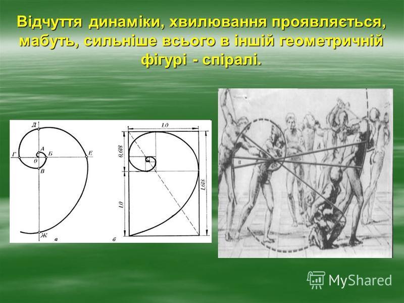 Відчуття динаміки, хвилювання проявляється, мабуть, сильніше всього в іншій геометричній фігурі - спіралі.