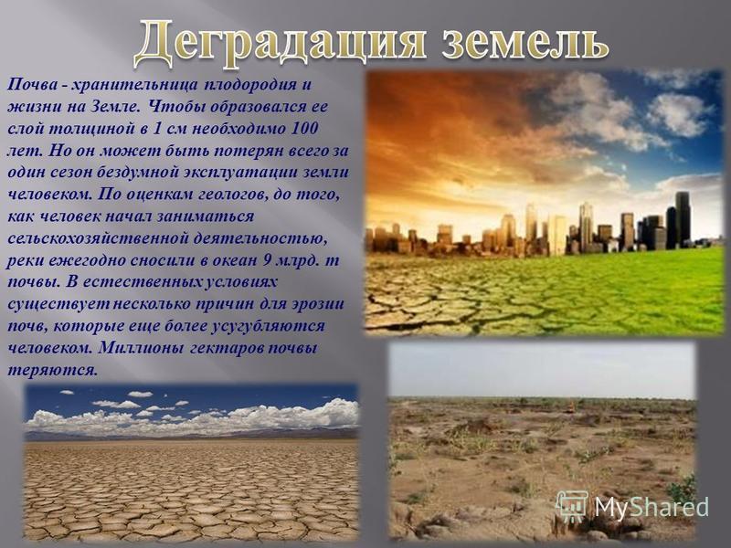 Почва - хранительница плодородия и жизни на Земле. Чтобы образовался ее слой толщиной в 1 см необходимо 100 лет. Но он может быть потерян всего за один сезон бездумной эксплуатации земли человеком. По оценкам геологов, до того, как человек начал зани