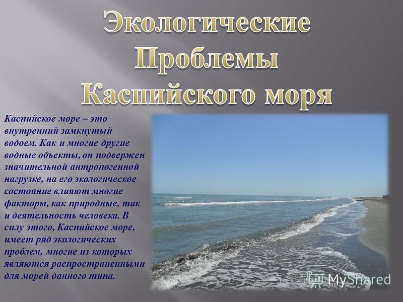 Каспийское море – это внутренний замкнутый водоем. Как и многие другие водные объекты, он подвержен значительной антропогенной нагрузке, на его экологическое состояние влияют многие факторы, как природные, так и деятельноесть человека. В силу этого,